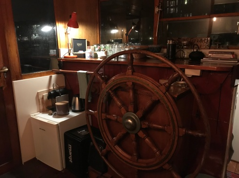 """The """"living room"""" and """"kitchen"""" in our houseboat."""